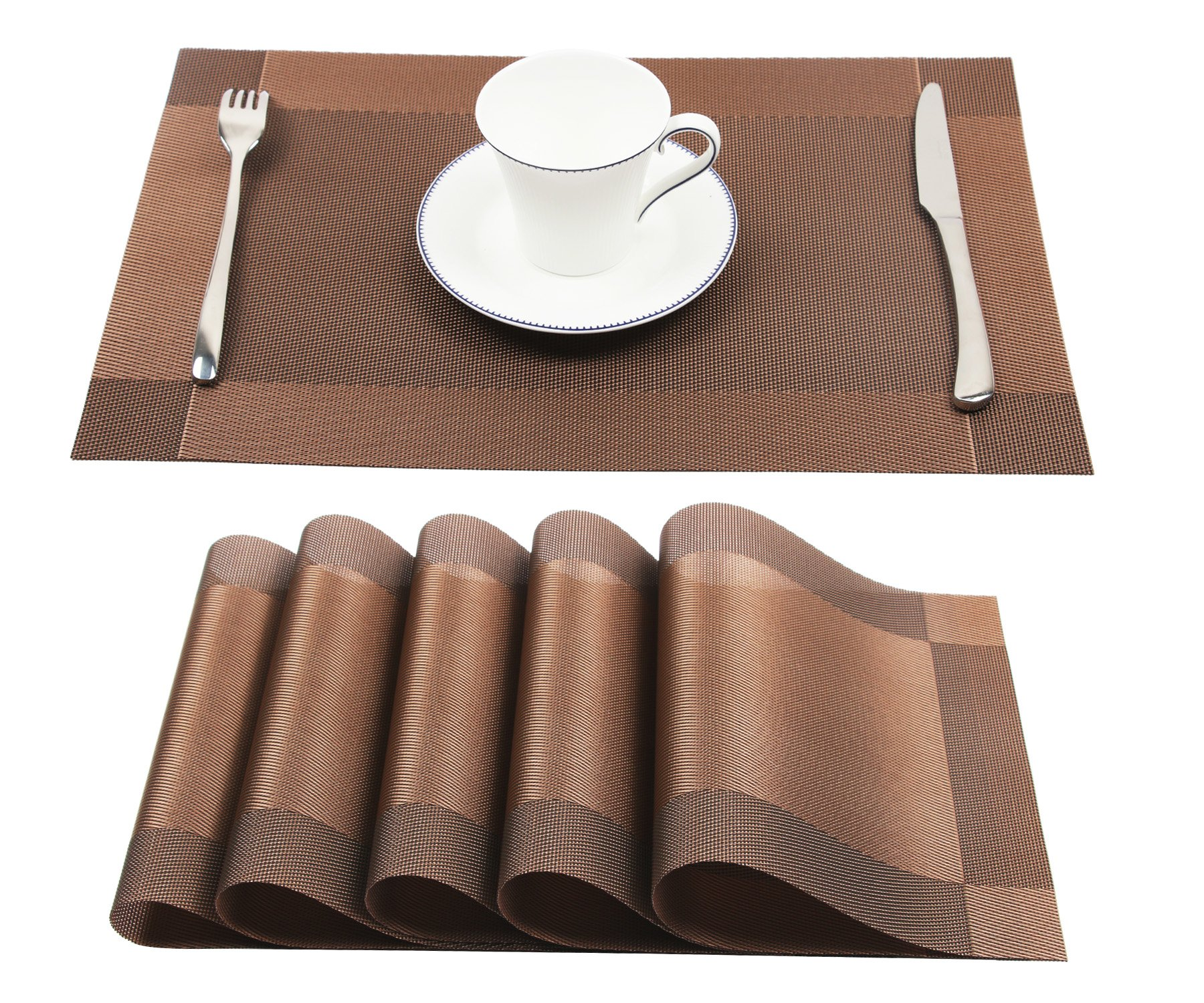 Homcomoda Vinyl Brown Placemats Heat Resistant Dining Table Mats Non-slip Washable Place Mats Set of 6(Brown)