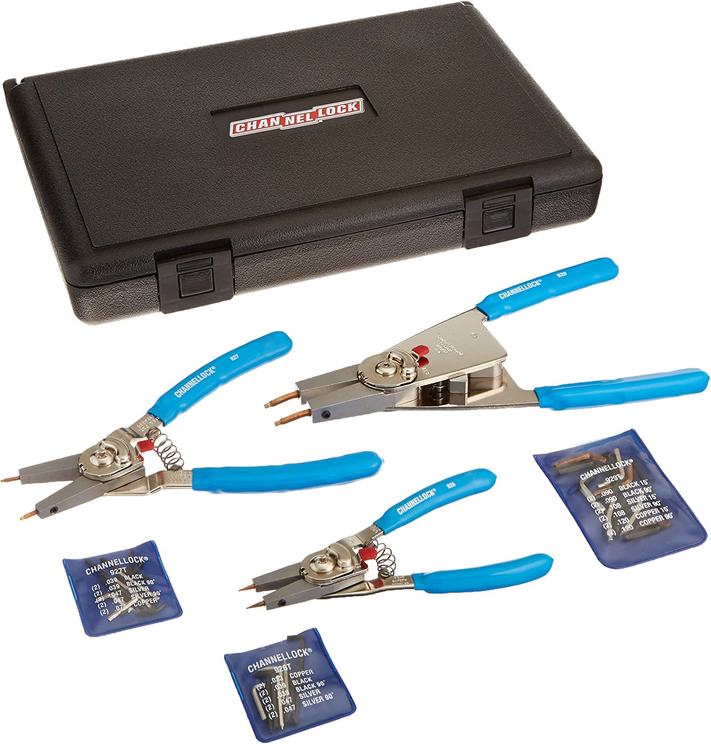 Channellock 929 10-inch Retaining Ring Plier with Blue Comfort Grips