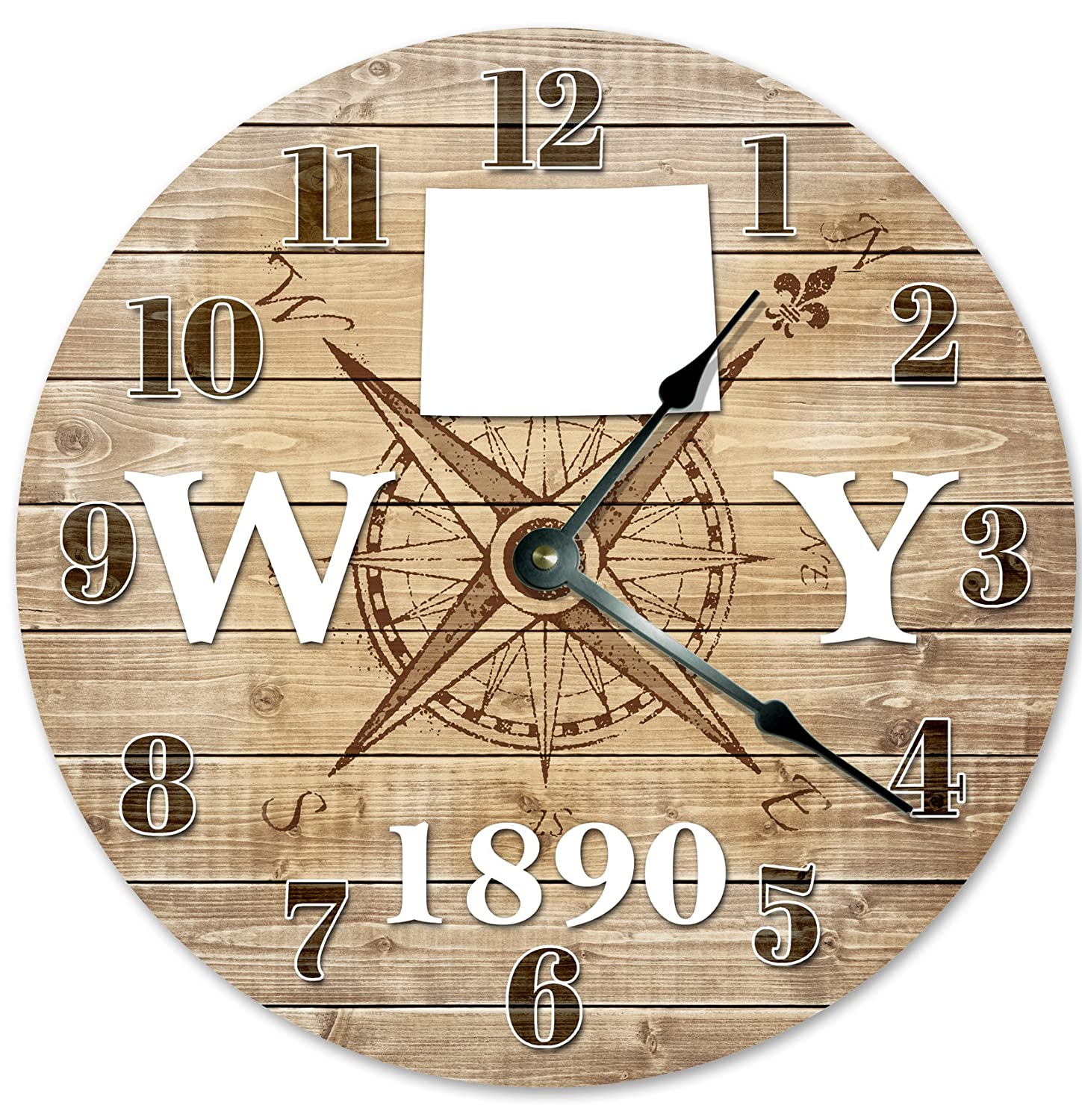 "WYOMING Established in 1890 Decorative Round Wall Clock Home Decor Large 10.5"" COMPASS MAP RUSTIC STATE CLOCK Printed Wood Image"