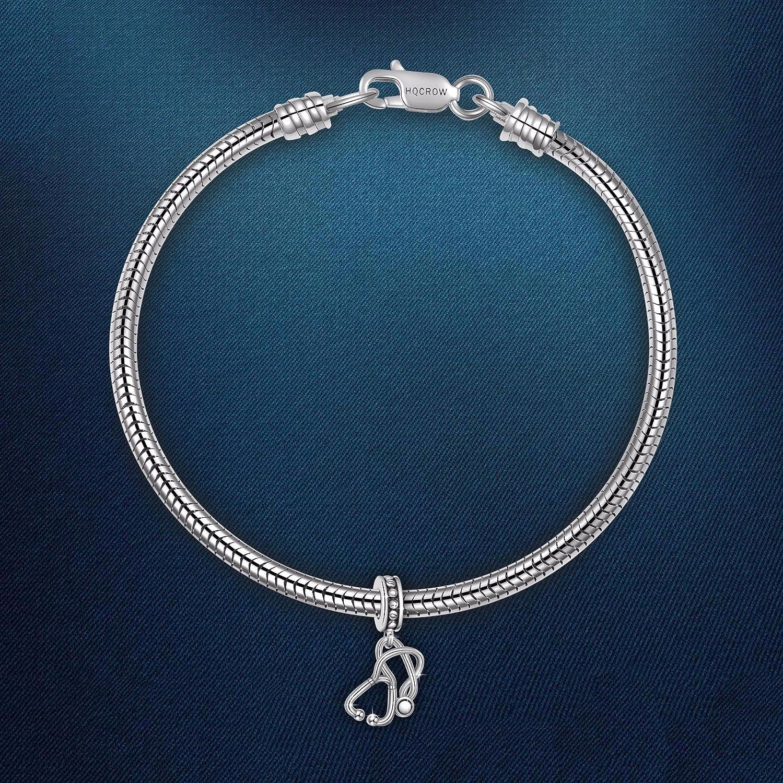 12fd251297e1c HQCROW 925 Sterling Silver Nurse Stethoscope Vintage Dangle Charms Bead for  European Charm Bracelet