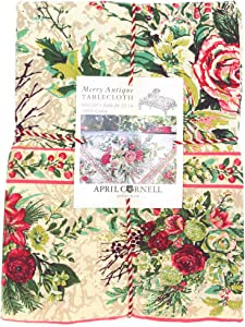April Cornell Floral Holdiay Tablecloth Merry Multi Color 100% Cotton 60 x 120