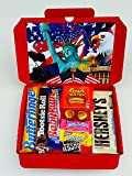 American Candy Gift Box Hamper | All Items Are Imported From America | These American Classics Come In a Letterbox Friendly Glossy Red Retro Sweets Hamper | Includes Full Size Baby Ruth, Tootsie Roll, Butterfinger, Reese's Big Cup, Hershey's Cookies & Cream A1 (BY CANDYPLANETUK)