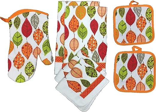 7 Pieces 100/% Cotton Kitchen Linen Set. Apple Oven Mitt, Kitchen Towels, Dish Cloths and Pot Holders