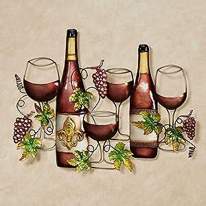 Touch of Class Vining Grapes Fleur de Wine Bottle and Glasses Metal Wall Art Port 28