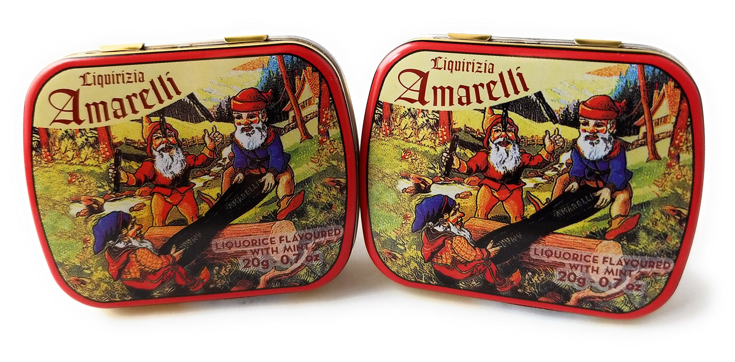 Amarelli - Pure Liquorice (Licorice) With Mint Small All Natural Hard Candy 2-20 gram Packages - Calabria Italy.