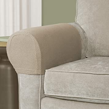 Mainstay Stretch Pixel 2 Piece Armrest Furniture Cover Slipcover Brownstone
