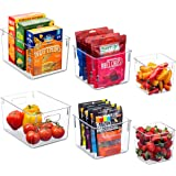 Set Of 6 Clear Pantry Organizer Bins Household Plastic Food Storage Basket with Cutout Handles for Kitchen, Countertops, Cabi