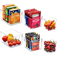 Set Of 6 Clear Pantry Organizer Bins Household Plastic Food Storage Basket with Cutout Handles for Kitchen, Countertops…