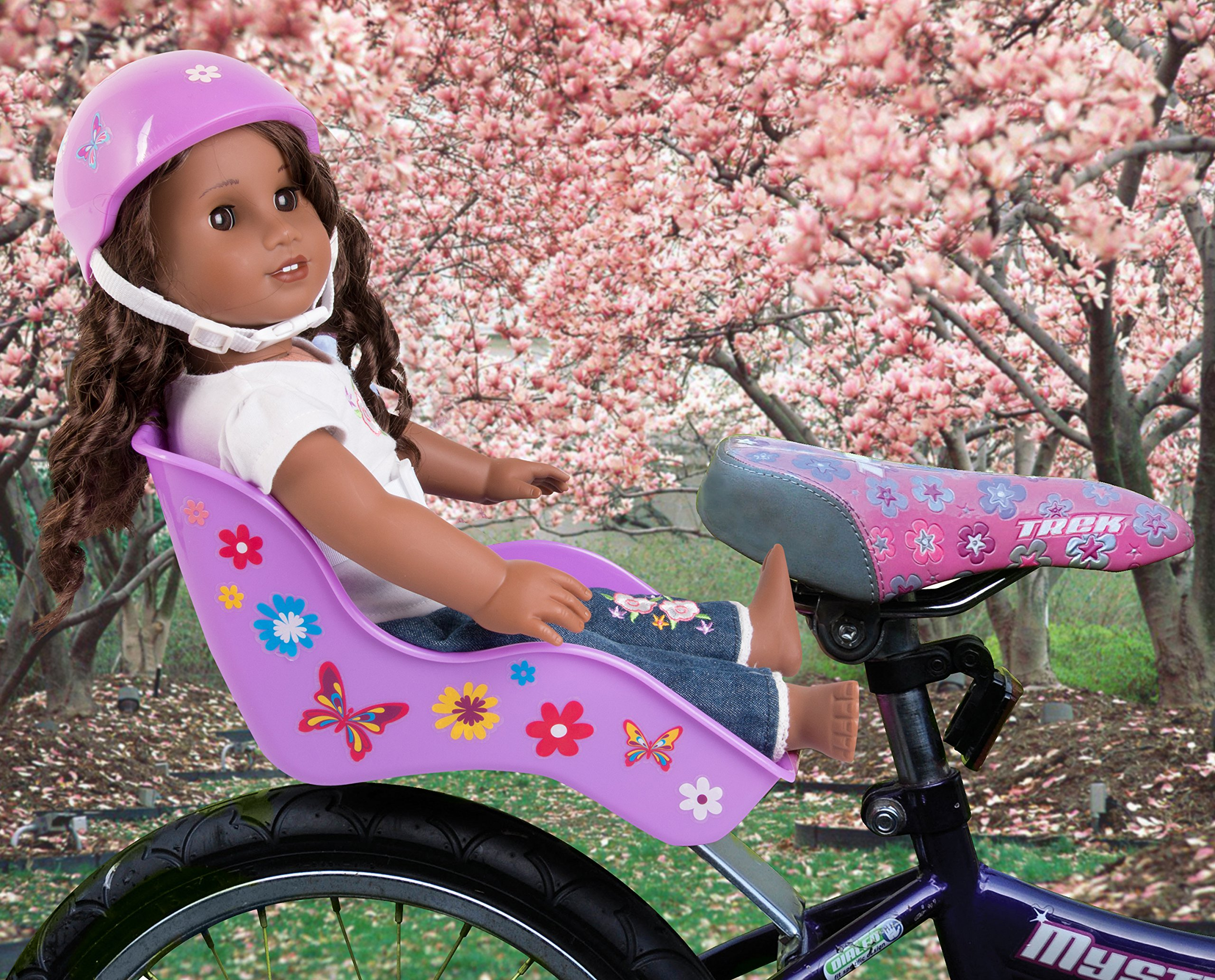 Ride Along Dolly Doll Bicycle Seat Bike Seat (Purple) with Decorate Yourself Decals (Fits American Girl and Stuffed Animals) by Ride Along Dolly (Image #2)