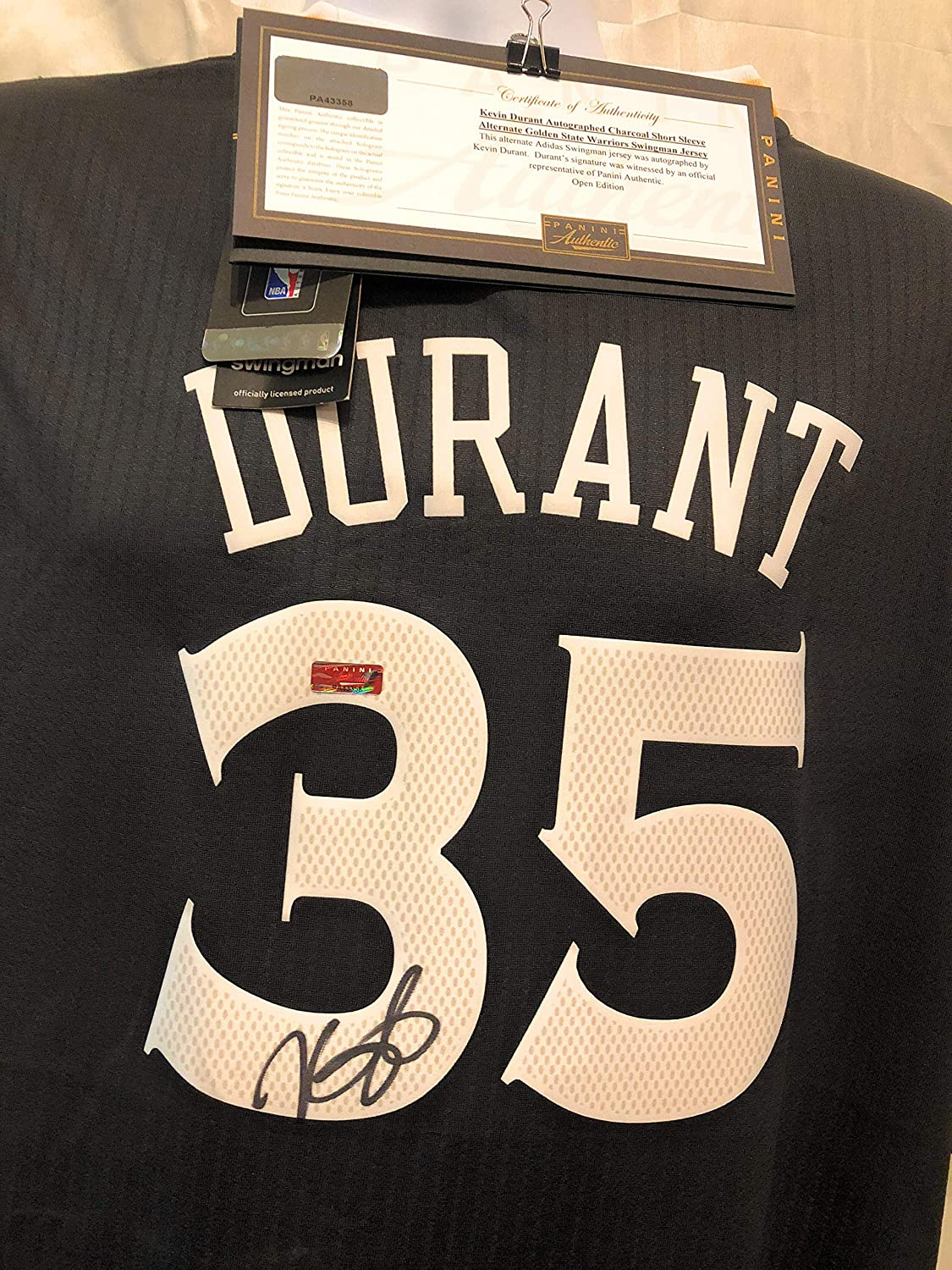 dd0ac38d57c Kevin Durant Golden State Warriors Signed Autograph Grey Sleeved Swingman  Jersey Panini Authentic Certified at Amazon's Sports Collectibles Store