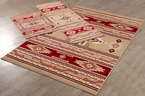 Furnish my Place Southwestern Contemporary Geometric Area Rug Burber 3 Pieces 2 X 3 , 2 X 6 , 5 X 8