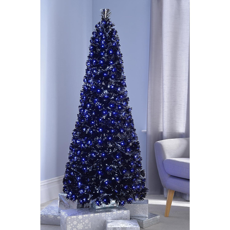 Blue and White Lights Pencil Fiber Optic Christmas Tree Skinny//Narrow Shape 5ft