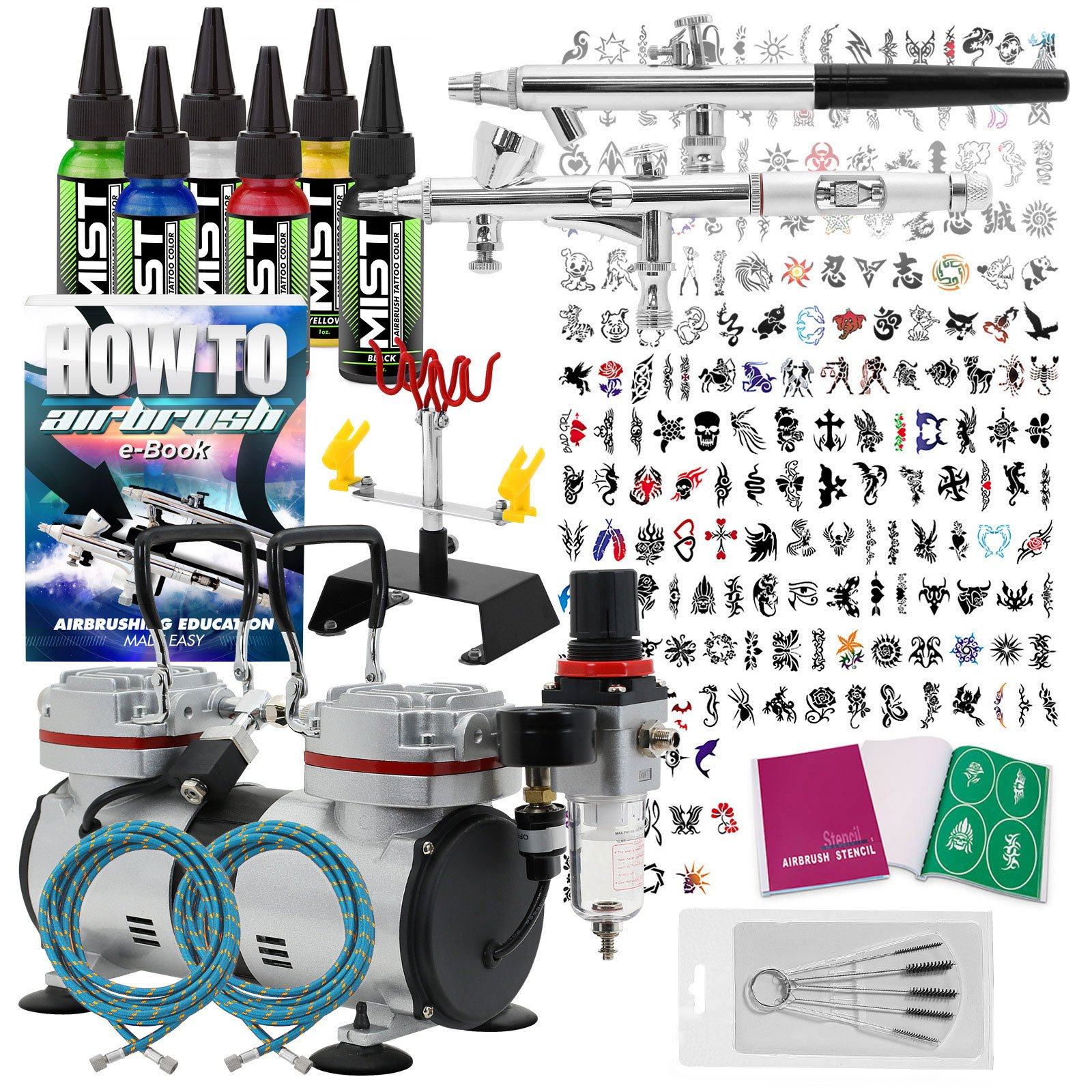 PointZero Complete Temporary Tattoo Airbrush Set - 2 Airbrushes with Compressor and 200 Stencils by Point Zero