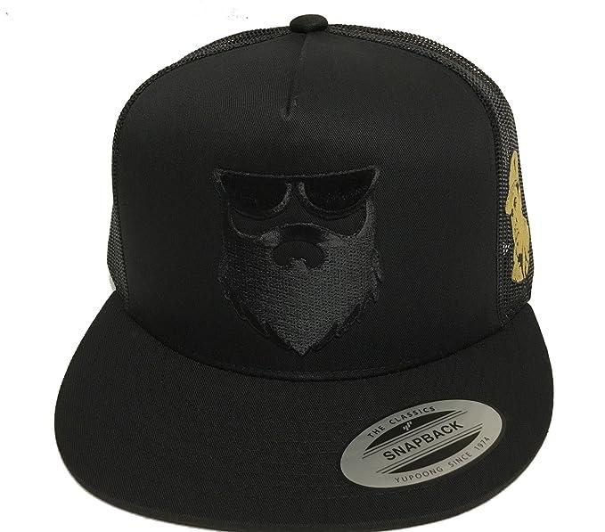 b68e460d2a7 Image Unavailable. Image not available for. Color  El Señor De La Barba Y El  Chapo Guzman 2 Logos Hat Black Mesh Snapback