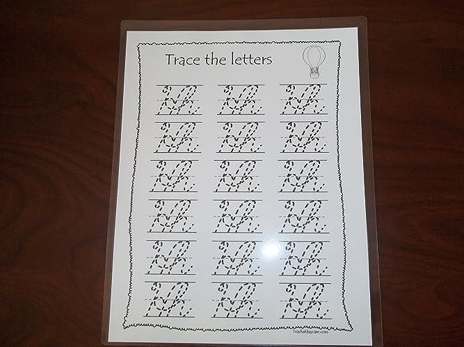 Amazon.com: 26 Preschool Dry Erase Cursive Alphabet Tracing ...