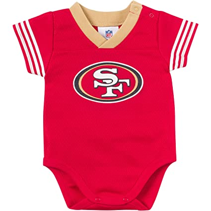 96d0f6b22cb Amazon.com : NFL San Francisco 49Ers Unisex-Baby Dazzle Mesh V-Neck  Bodysuit, Red/Gold, 0-3 Months : Sports & Outdoors