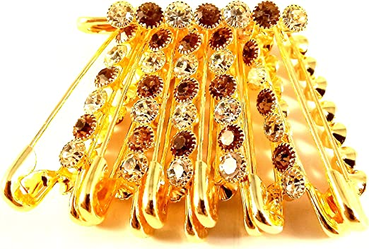 Sarvam Decorative Safety Pins Saree Pins One Side of Safety Pin Decorated with White Beads Set of 12