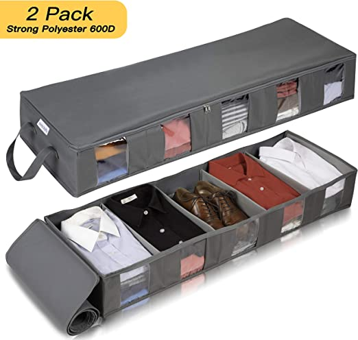 Pack of 2 mDesign Under-Bed Storage for Clothes and Shoes Space-Saving Clothes Storage Storage Box with 4 Compartments Grey