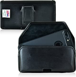 product image for Turtleback Holster for iPhone 8 Plus, iPhone 7 Plus, Black Belt Case Leather Pouch with Executive Belt Clip Horizontal Made in USA