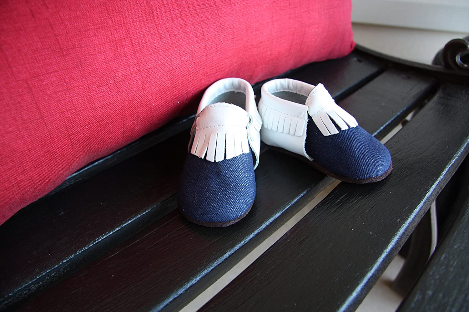 Sprouts Infant Baby Moccasins Denim with White Leather