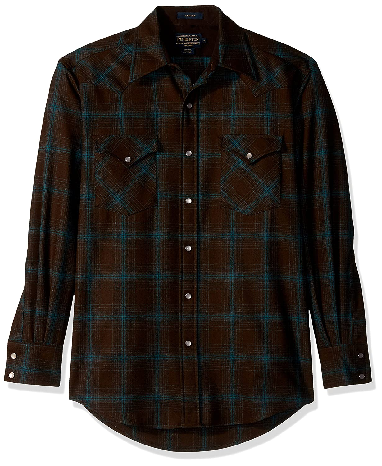 Pendleton メンズ長袖キャニオンシャツ B06XPPDMWS XL Brown/Turquoise Ombre Brown/Turquoise Ombre XL