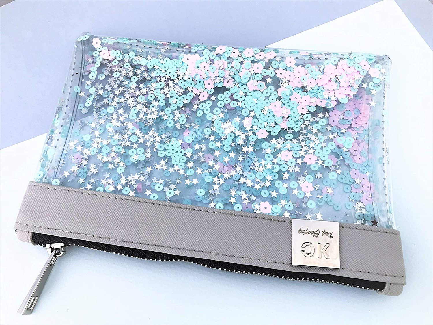 Designer Pastel Glitter Clear Pencil Case, Small Pink, Light Green and Silver Sequin Makeup Bag, Transparent Pencil Pouch