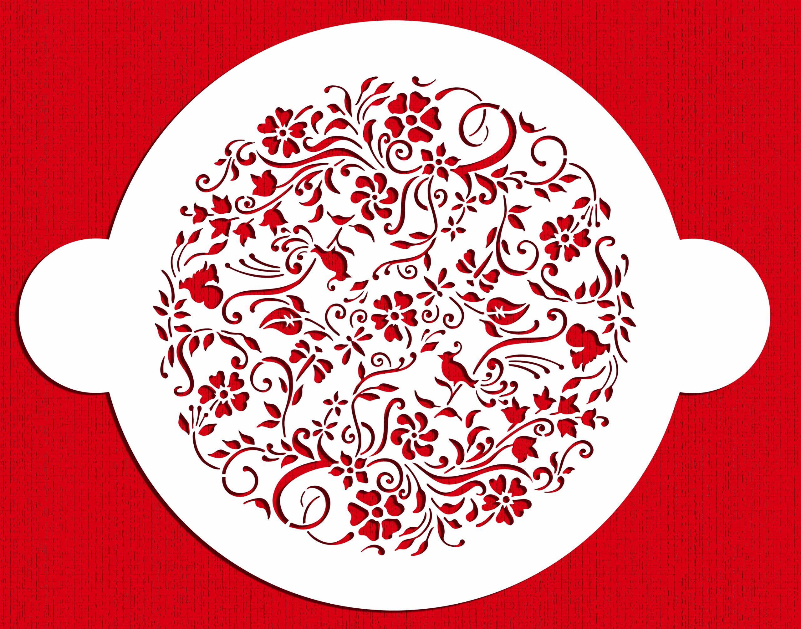 Designer Stencils C569 Nature's Vignette Cake Stencil Top, Beige/semi-transparent by Designer Stencils (Image #1)