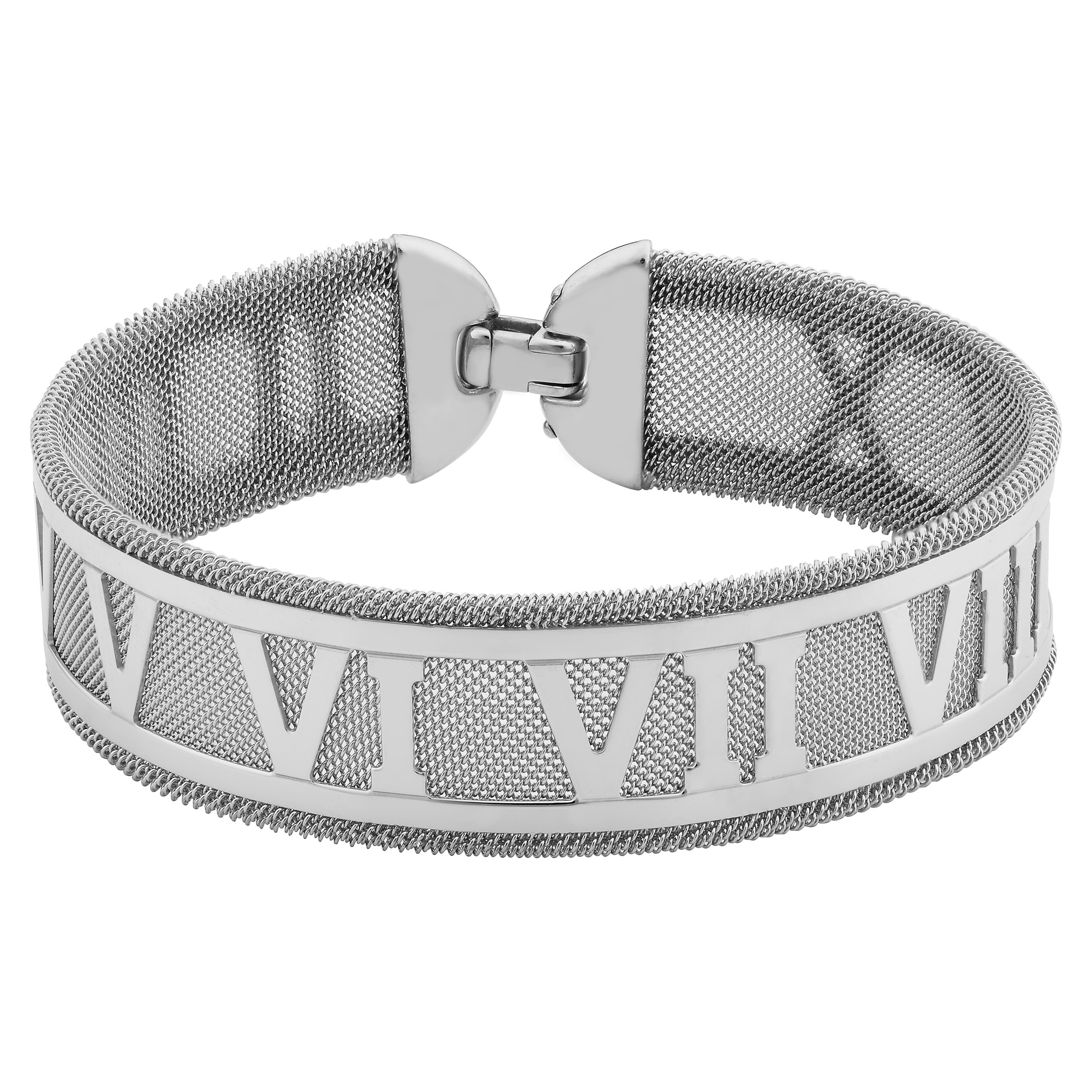 Sterling Silver 16.8mm Roman Numerals On Mesh Bracelet (7.5 inch)