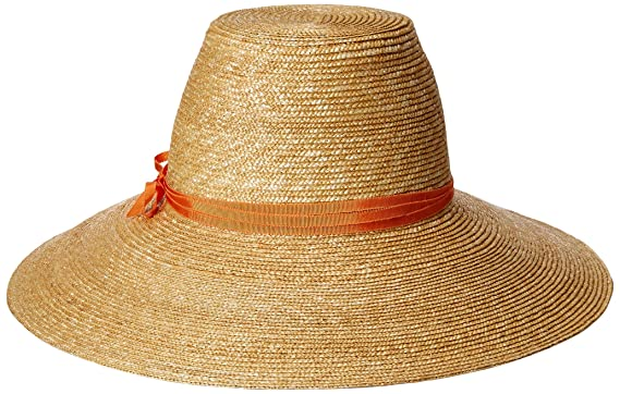 fc39cc5e6fdf40 Gottex Women's Cote D'Azur Fine Milan Straw Sun Hat Rated, UPF 50+ for Max  Sun Protection, Natural/Orange, Adjustable Head Size at Amazon Women's  Clothing ...