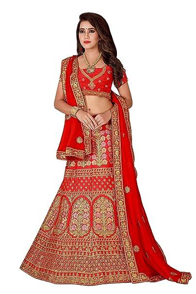 580d39abea Generic Women's Amazing Malbari Silk Embroidered Semi-Stitched Lehenga Choli  (L107, Red, Free Size): Amazon.in: Clothing & Accessories