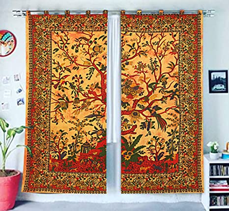 indio tratamientos para ventanas algodón Conjunto de 2 paneles ...