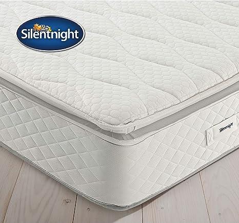 Silentnight Stratus Miracoil Geltex - Colchón con Pillow Top, Espuma, Blanco, Matrimonio Super