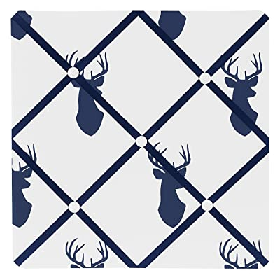 Sweet Jojo Designs Navy Blue White and Gray Woodland Deer Fabric Memory/Memo Photo Bulletin Board: Baby