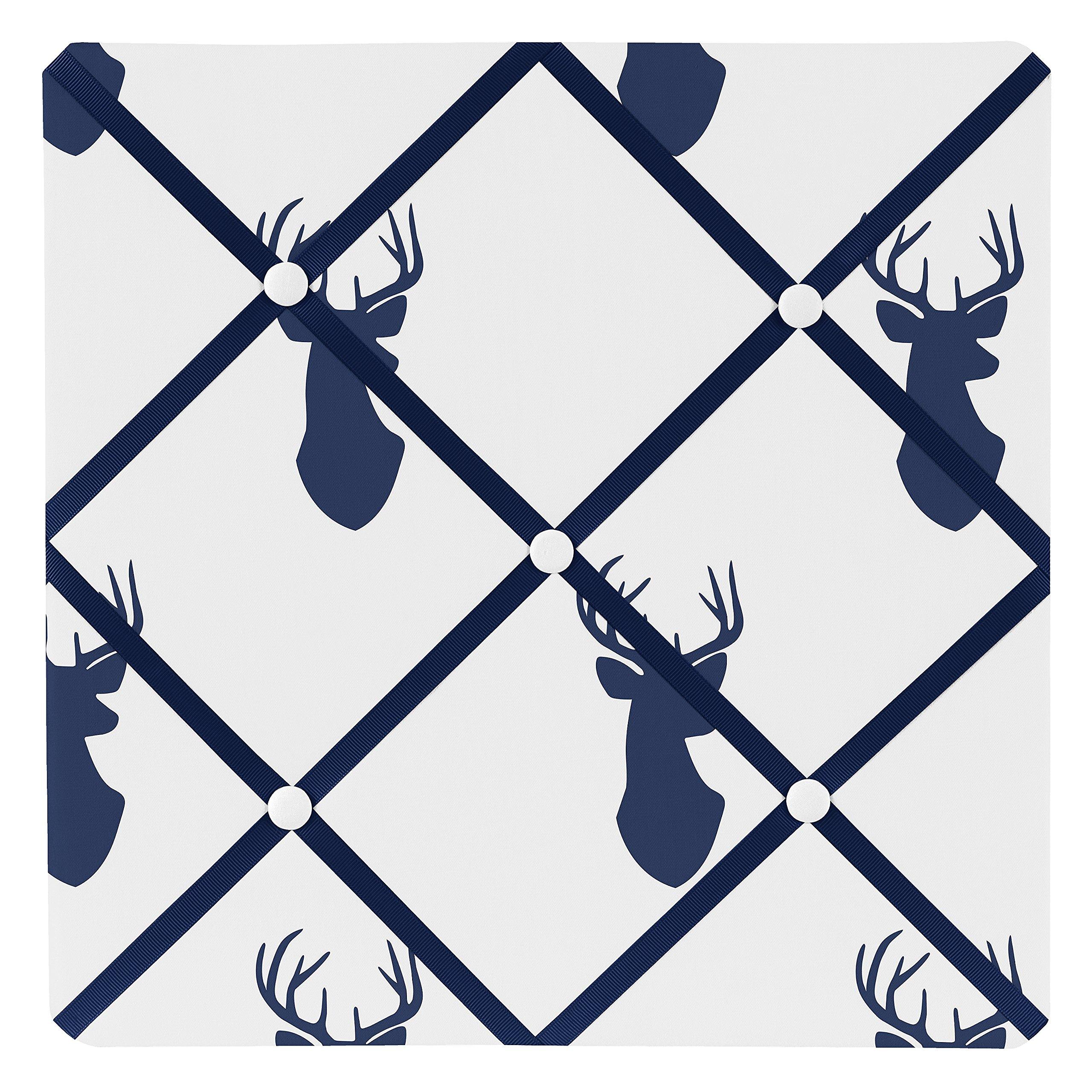 Sweet Jojo Designs Navy Blue White and Gray Woodland Deer Fabric Memory/Memo Photo Bulletin Board