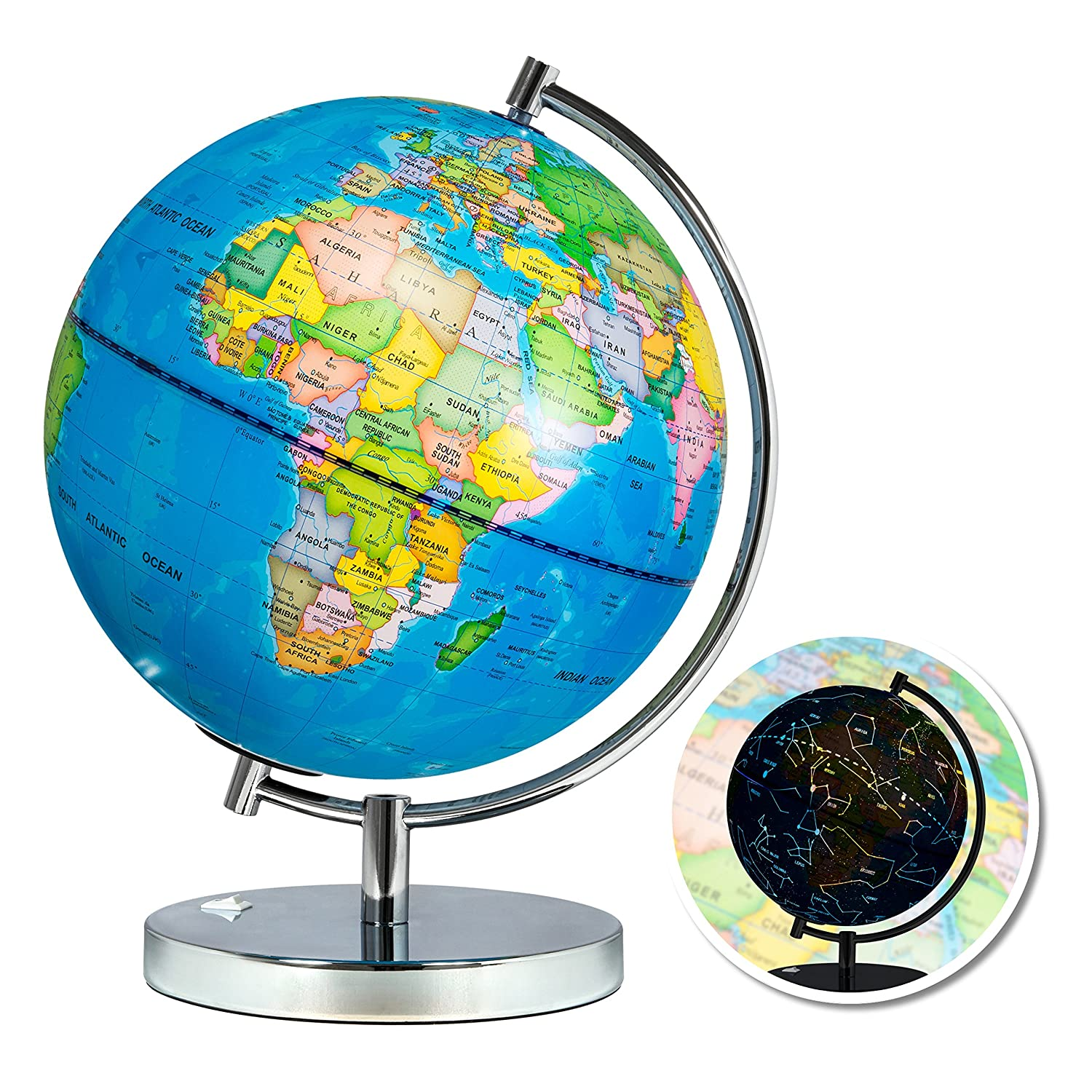 Best Choice Products Kids 2-in-1 Light-Up World Geographical Globe w/ Day and Night Constellation View, Steel Stand