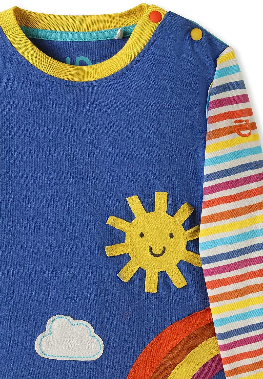 Rainbow Sunshine Applique 2-4Y kIDio Organic Cotton Toddler Long Sleeve Top Boys Girls Blue