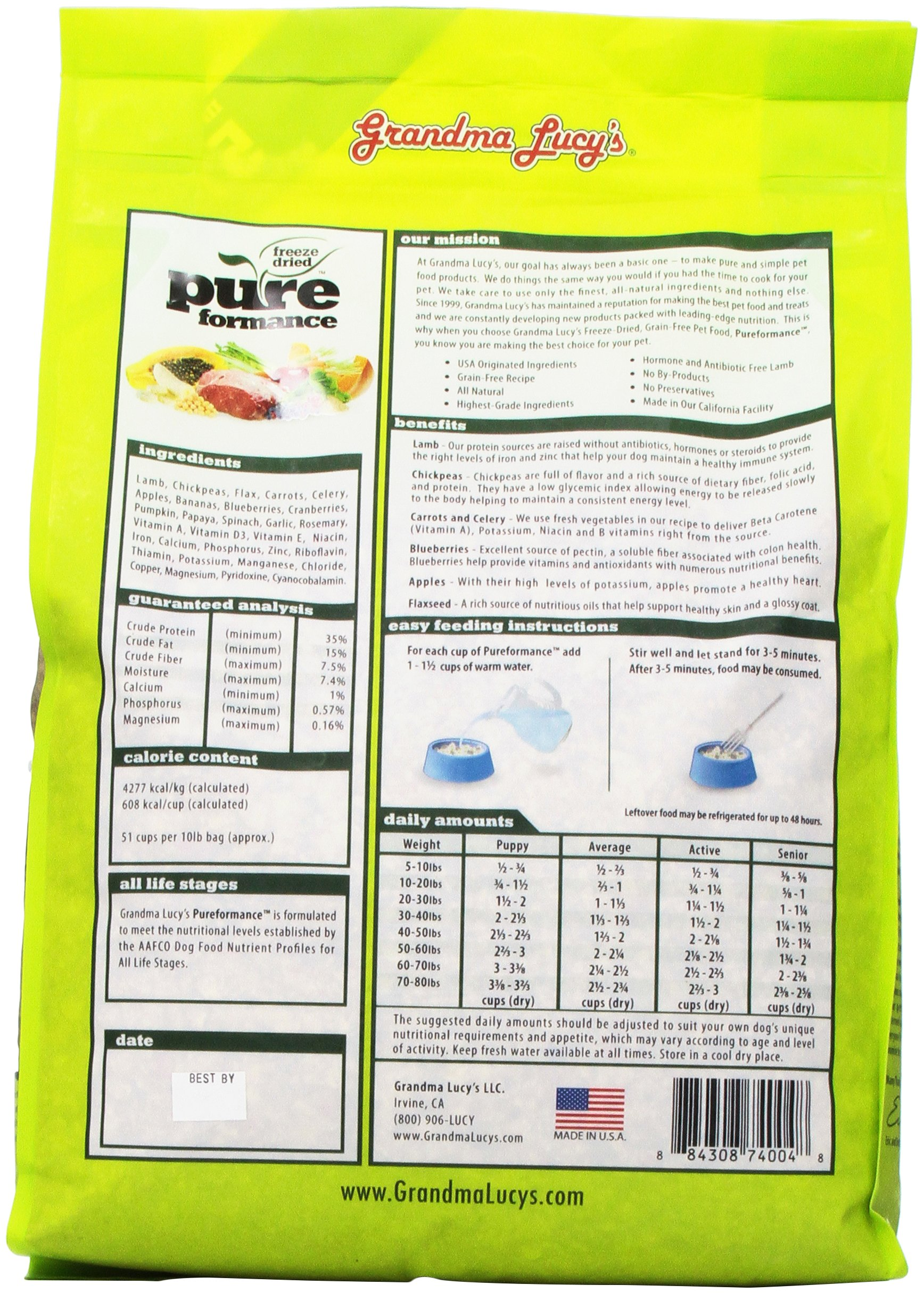 GRANDMA LUCY'S 844214 Pureformance Grain Free Lamb Food for Dogs, 10-Pound by Grandma Lucy's (Image #5)