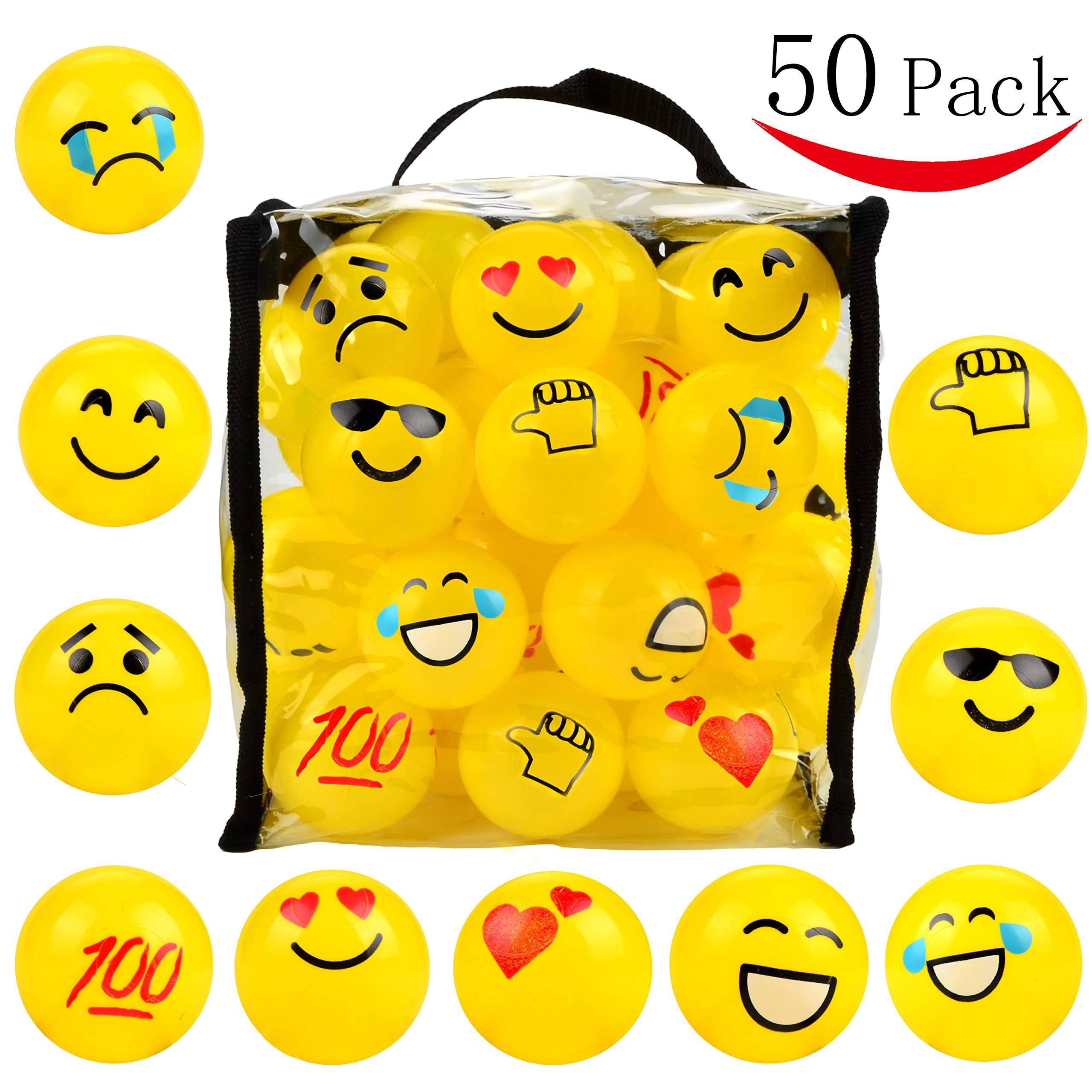 Youngever 50 Emoji Pit Balls, Ball Pit, Crush Proof Plastic Ball Pit with Sturdy Clear Bag by Youngever