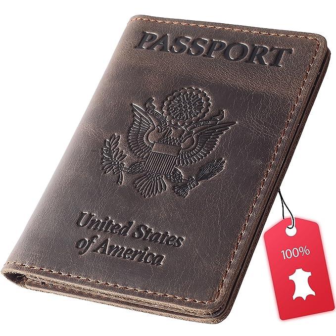 1f8101868b9b Rachiba Leather Passport Holder - USA Embossed Travel Document and ...
