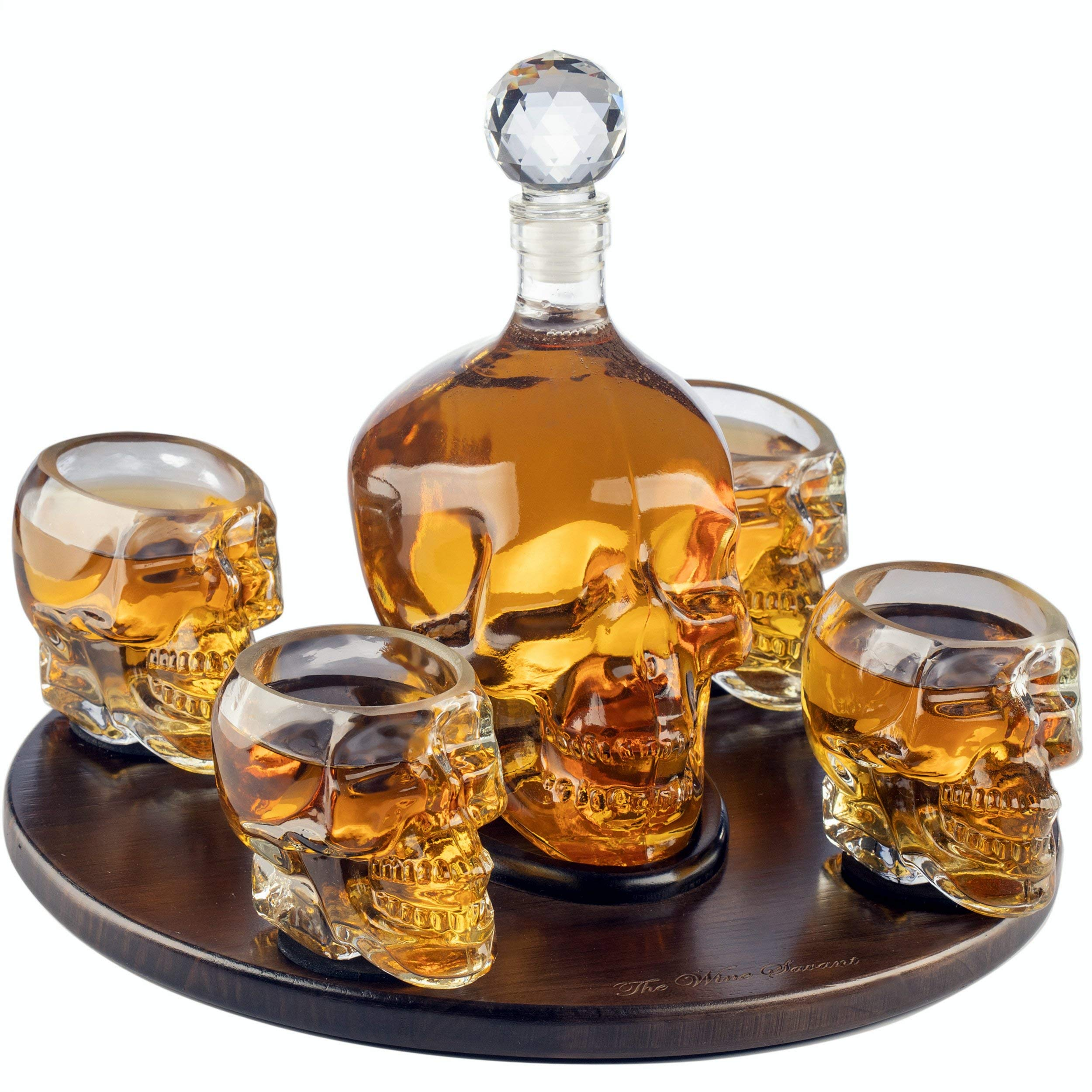 The Wine Savant Large Skull Face Decanter with 4 Skull Shot Glasses and Beautiful Wooden Base - By Use Skull Head Cup For A Whiskey, Scotch and Vodka Shot Glass, 25 Ounce Decanter 3 Ounces Shot Glass by The Wine Savant