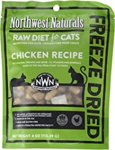 Northwest Naturals Chicken Freeze-Dried Raw Diet for Cats, 4 Ounces, Made in The USA