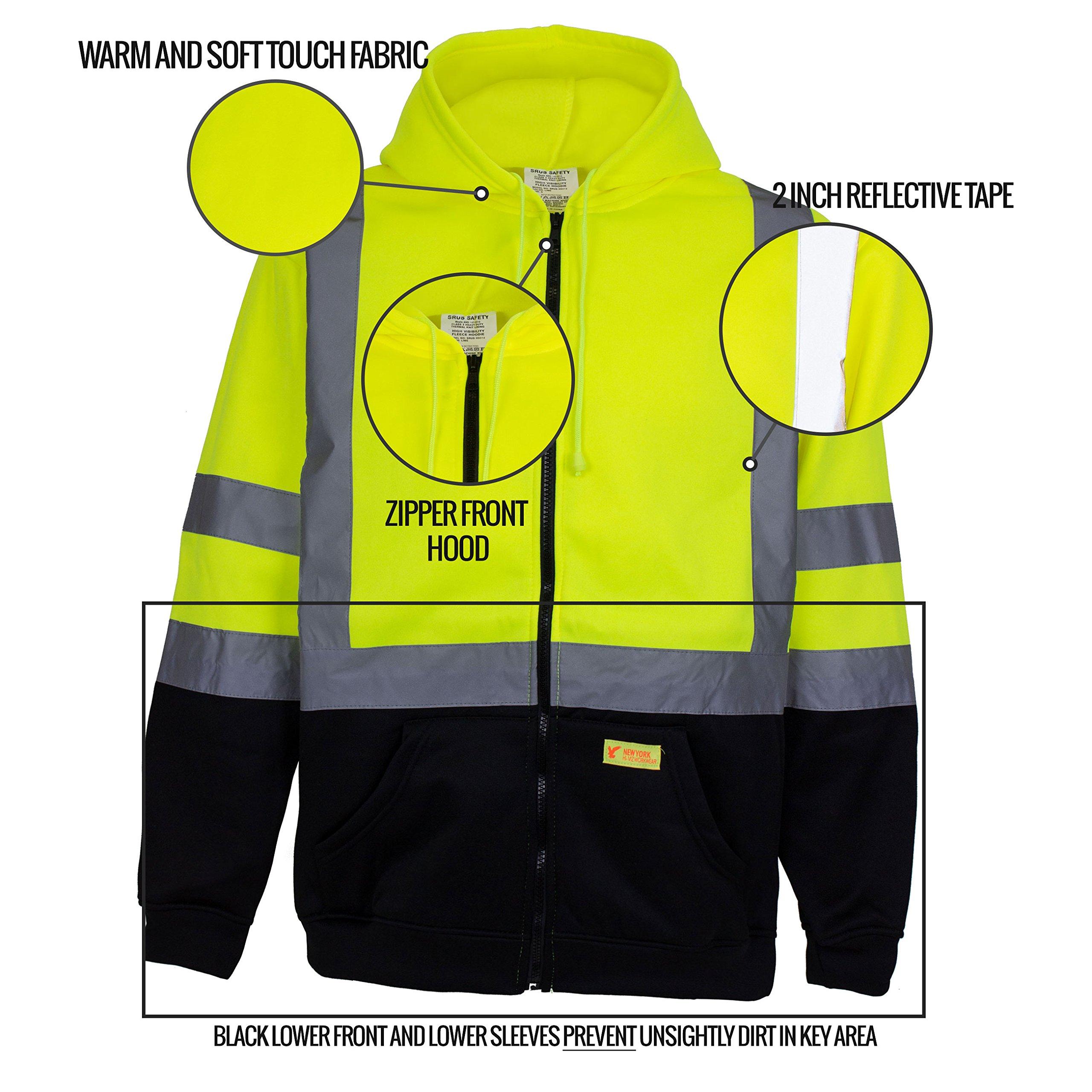New York Hi-Viz Workwear H9012 Men's ANSI Class 3 High Visibility Class 3 Sweatshirt, Full Zip Hooded, Lightweight, Black Bottom (XX-Large) by New York Hi-Viz Workwear (Image #6)