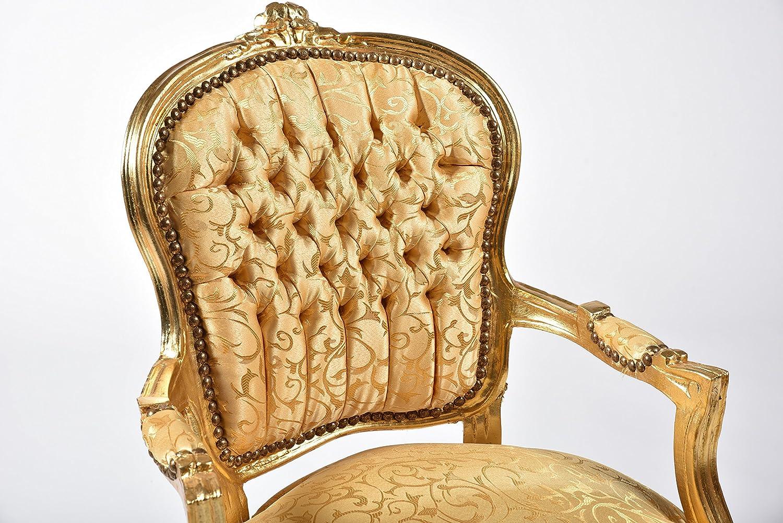 Way Home Store - Sillón Luis estilo francés Luigi XVI dorado y tejido dorado con hojas