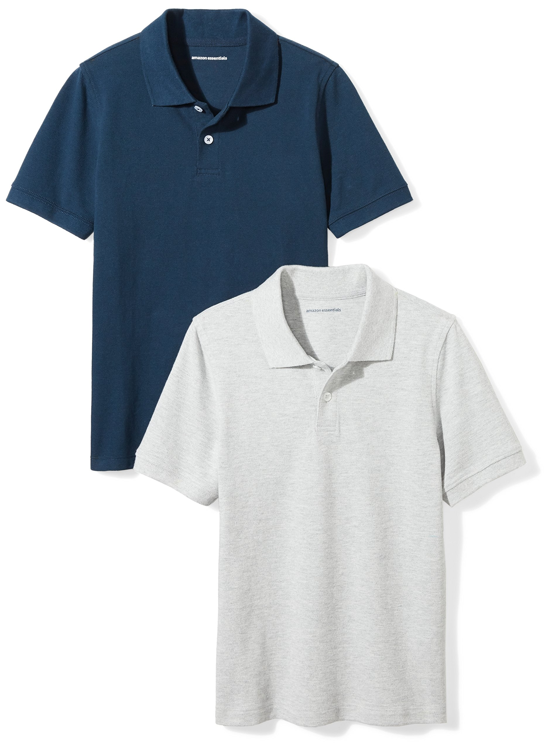 Amazon Essentials Boys' 2-Pack Uniform Pique Polo, Heather Grey/Navy, XXL(14)