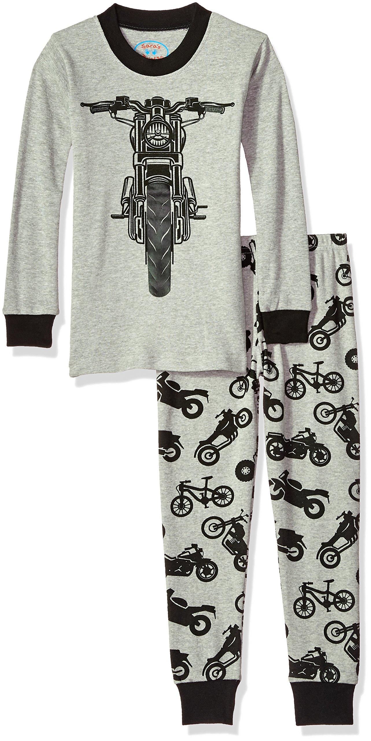 Sara's Prints Big Kids All Cotton Long John Pajamas, Motorcycle/Mojito, 12 by Sara's Prints (Image #1)