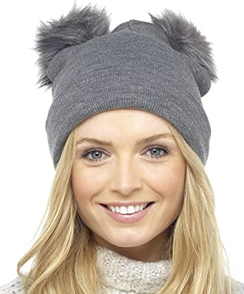 Foxbury Ladies Fine Knit Hat with 2 Faux Fur Bobbles Grey  Amazon.co ... 455cbcef78