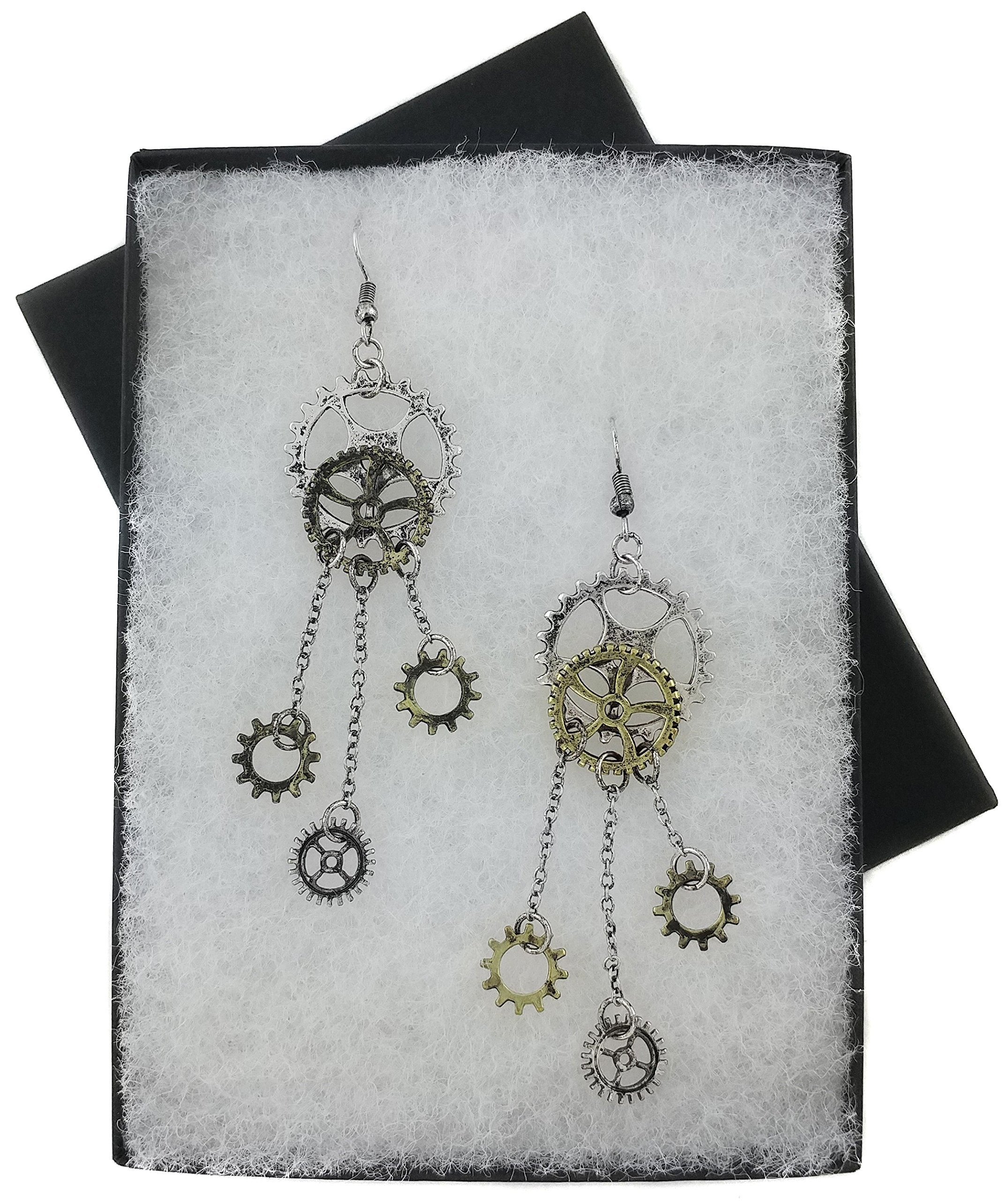 Women's Steampunk Antique Earrings for sensitive ears | Clock Wheel Gear mixed tone 5