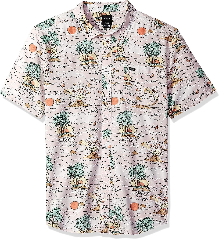 RVCA Mens Ceddia Short Sleeve Woven Button Front Shirt
