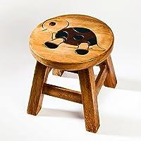 Tabouret / chaise robuste pour enfants, en bois massif, avec motif tortue, hauteur d'assise: 25 cm
