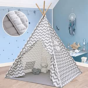 Teepee Tent for Kids Play Tent with Mat for Boy Girl Indoor & Outdoor, 5' Gray Chevron Heavy Cotton Canvas Teepee